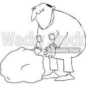 Royalty-Free Vector Clip Art Illustration of a Coloring Page Outline Of A Worker Man Picking Up A Rock © djart #1056425