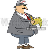 Royalty-Free Vector Clip Art Illustration of a News Reporter Taking Notes © djart #1056820