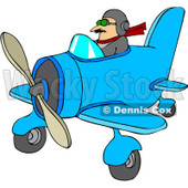 Royalty-Free Vector Clip Art Illustration of a Pilot Flying A Little Plane © djart #1056821