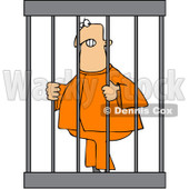 Royalty-Free Vector Clip Art Illustration of An Angry Prisoner Behind Bars © djart #1057882