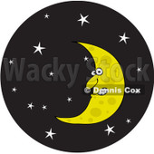Royalty-Free Vector Clip Art Illustration of a Crescent Moon In A Starry Night Sky Circle © djart #1057883