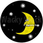 Royalty-Free Clip Art Illustration of a Crescent Moon In A Glowing Starry Night Sky Circle © djart #1057886