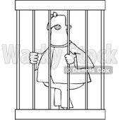 Royalty-Free Vector Clip Art Illustration of a Coloring Page Outline Of An Angry Prisoner Behind Bars © Dennis Cox #1057891