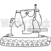 Royalty-Free Vector Clip Art Illustration of a Coloring Page Outline Of An Elephant In A Kiddie Pool © djart #1057893