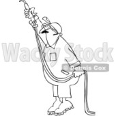 Royalty-Free Vector Clip Art Illustration of a Coloring Page Outline Of A Worker Man Using An Acetylene Torch © djart #1057895