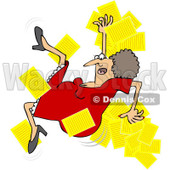 Royalty-Free Vector Clip Art Illustration of a Woman Slipping And Dropping Papers © Dennis Cox #1059507