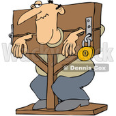 Royalty-Free Vector Clip Art Illustration of a Man Locked In Stocks © djart #1059512