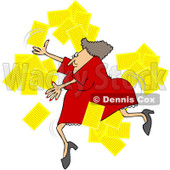 Royalty-Free Vector Clip Art Illustration of a Woman Tripping And Dropping Papers © Dennis Cox #1059513