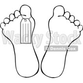 Royalty-Free Vector Clip Art Illustration of a Black And White Outline Of A Toe Tag On A Foot © djart #1059515
