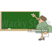 Royalty-Free Vector Clip Art Illustration of a Lady Teacher Writing On A Chalk Board © Dennis Cox #1059516