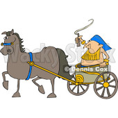 Royalty-Free Vector Clip Art Illustration of a Horse Pulling A Guy In A Chariot © Dennis Cox #1059517