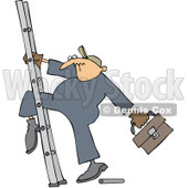 Royalty-Free Vector Clip Art Illustration of a Worker Man Getting His Leg Stuck In A Ladder © djart #1059763