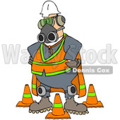 Royalty-Free Clip Art Illustration of a Construction Worker Wearing A Mask And Safety Gear © Dennis Cox #1061046