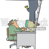 Royalty-Free Vector Clip Art Illustration of a Secretary Checking Out A Worker As He Climbs A Ladder In An Office © djart #1061047