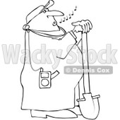 Royalty-Free Vector Clip Art Illustration of a Coloring Page Outline Of A Worker Leaning On A Shovel And Listening To Mp3 Music © djart #1061049