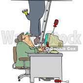 Royalty-Free Vector Clip Art Illustration of a Worker Climbing A Ladder And Dropping Tools Near A Secretary In An Office © djart #1061051
