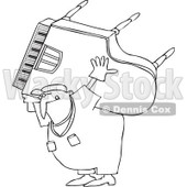 Royalty-Free Vector Clip Art Illustration of a Coloring Page Outline Of A Man Carrying And Moving A Piano © djart #1061054