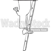 Royalty-Free Vector Clip Art Illustration of a Coloring Page Outline Of A Worker Man's Legs On A Ladder © djart #1061055