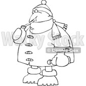 Royalty-Free Vector Clip Art Illustration of a Coloring Page Outline Of A Man In Winter Clothes, Sipping A Beverage © Dennis Cox #1061056