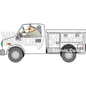 Clipart Worker Writing In A Utility Truck - Royalty Free Vector Illustration © djart #1062795