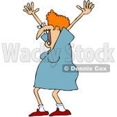 Clipart Scared Woman Screaming - Royalty Free Vector Illustration © Dennis Cox #1062797
