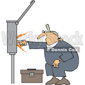 Clipart Electrician Touching A Power Box - Royalty Free Vector Illustration © djart #1062799