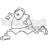 Clipart Outlined Boy Running Scared - Royalty Free Vector Illustration © djart #1062802