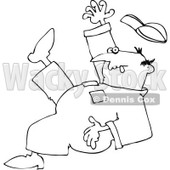 Clipart Outlined Worker Slipping - Royalty Free Vector Illustration © djart #1062803
