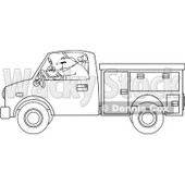 Clipart Outlined Worker Writing In A Utility Truck - Royalty Free Vector Illustration © djart #1062807
