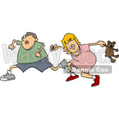 Clipart Scared Boy And Girl Running - Royalty Free Vector Illustration © Dennis Cox #1062810