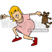 Clipart Girl Running Scared - Royalty Free Vector Illustration © Dennis Cox #1062811