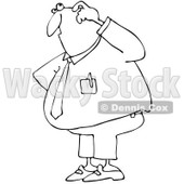 Clipart Outlined Confused Businessman - Royalty Free Vector Illustration © djart #1062812