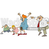 Clipart Scared Family Running From Dad - Royalty Free Vector Illustration © Dennis Cox #1062813