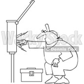Clipart Outlined Electrician Touching A Power Box - Royalty Free Vector Illustration © djart #1062814