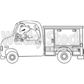 Clipart Outlined Worker Driving A Utility Truck - Royalty Free Vector Illustration © djart #1062817