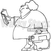 Clipart Outlined Woman Reading Extinguisher Manual - Royalty Free Vector Illustration © djart #1062820