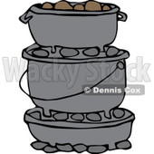 Clipart Stack Of Dutch Ovens - Royalty Free Vector Illustration © Dennis Cox #1064240