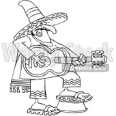 Clipart Outlined Mexican Guitarist - Royalty Free Vector Illustration © djart #1064249