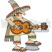 Clipart Mexican Man Playing A Guitar - Royalty Free Vector Illustration © djart #1064250