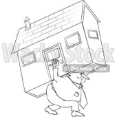 Clipart Outlined Man Carrying A House - Royalty Free Vector Illustration © djart #1065010
