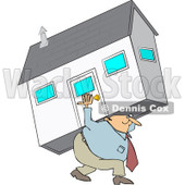 Clipart Man Carrying A House - Royalty Free Vector Illustration © djart #1065011