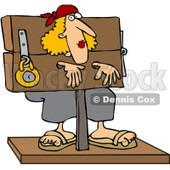 Clipart Woman Locked In Stocks - Royalty Free Vector Illustration © djart #1065019