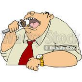 Clipart Unhealthy Man Eating - Royalty Free Vector Illustration © Dennis Cox #1066451