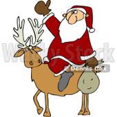 Clipart Santa On A Reindeer - Royalty Free Vector Illustration © djart #1067564