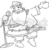 Clipart Outlined Santa Introducing - Royalty Free Vector Illustration © djart #1067566