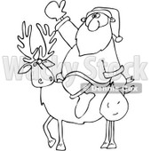 Clipart Outlined Santa On A Reindeer - Royalty Free Vector Illustration © djart #1067567