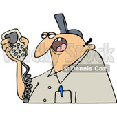 Clipart Worker Talking On A Radio - Royalty Free Vector Illustration © djart #1067864