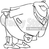 Clipart Outlined Man Mooning And Bending Over - Royalty Free Vector Illustration © Dennis Cox #1068446