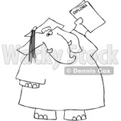 Clipart Outlined Graduate Elephant With A Diploma - Royalty Free Vector Illustration © djart #1068861