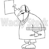 Clipart Outlined Construction Worker Holding A Message - Royalty Free Vector Illustration © Dennis Cox #1069033